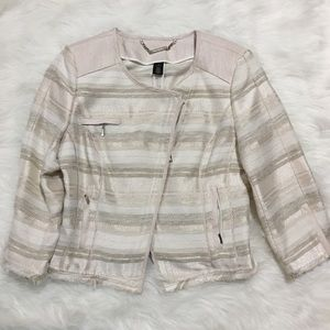 WHBM cream striped tweed jacket